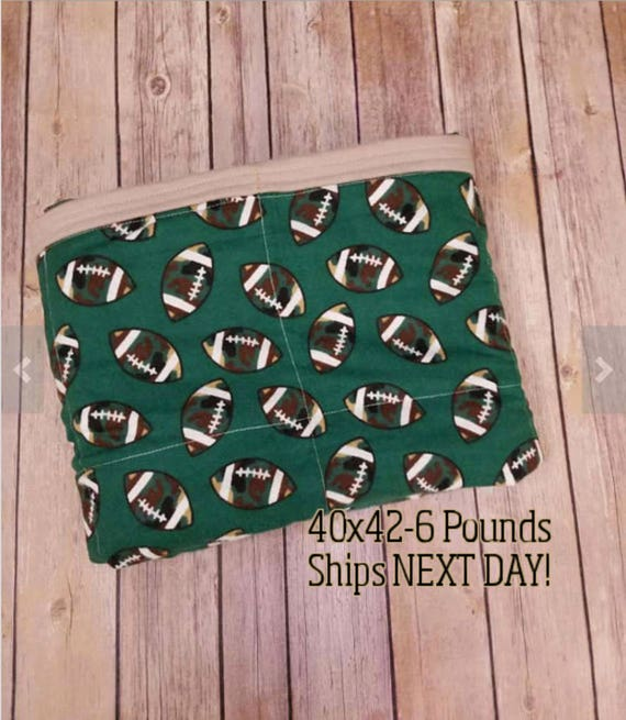 Football, 6 Pound, WEIGHTED BLANKET, Ready To Ship, 6 Pounds, 40x42 for Autism, Sensory, ADHD, Calming