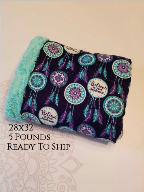 READY to SHIP, Weighted Blanket, 28x32-5 Pounds, Dreamcatcher Cotton Flannel Front, Teal Minky Back, Sensory Blanket, Calming Blanket,