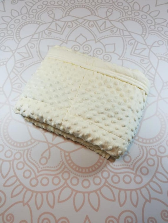 Ready To Ship, 40X42, Ivory Minky, 7 Pound, WEIGHTED BLANKET, Ready To Ship, 7 pounds, 40x42, for Autism, Sensory, ADHD, Calming