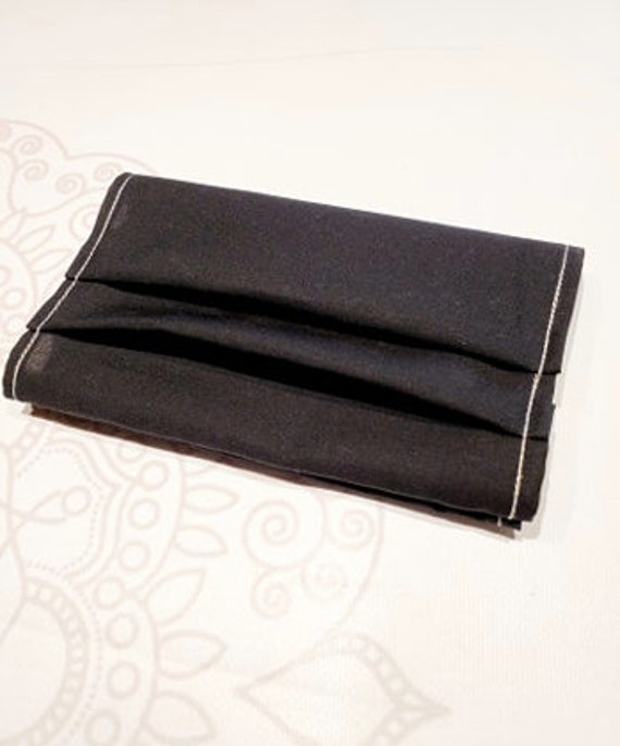 READY to SHIP, Face Mask COVER, For Ear Looped Masks, Solid Black Cotton, Washable Mask Cover