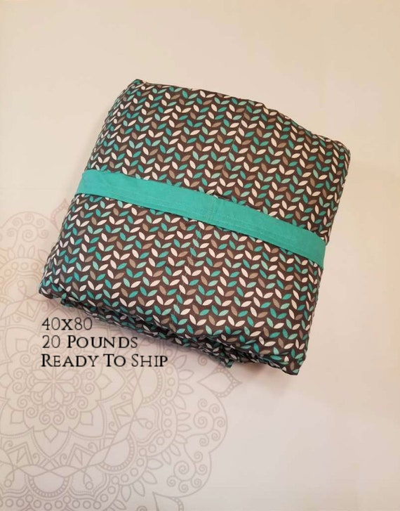 READY to SHIP, Weighted Blanket, 40x80-20 Pounds, Teal Gray Leaves, Teal Woven Cotton Back, Sensory Blanket, Calming Blanket,