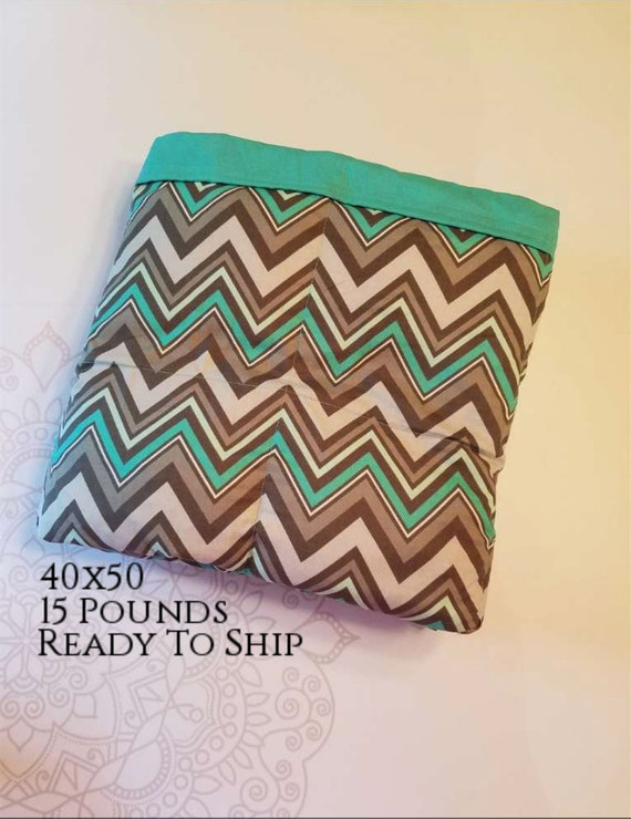 READY to SHIP, Weighted Blanket, 40x50-15 Pounds, Teal Chevron Cotton Front, Teal Woven Cotton Back, Sensory Blanket, Calming Blanket,