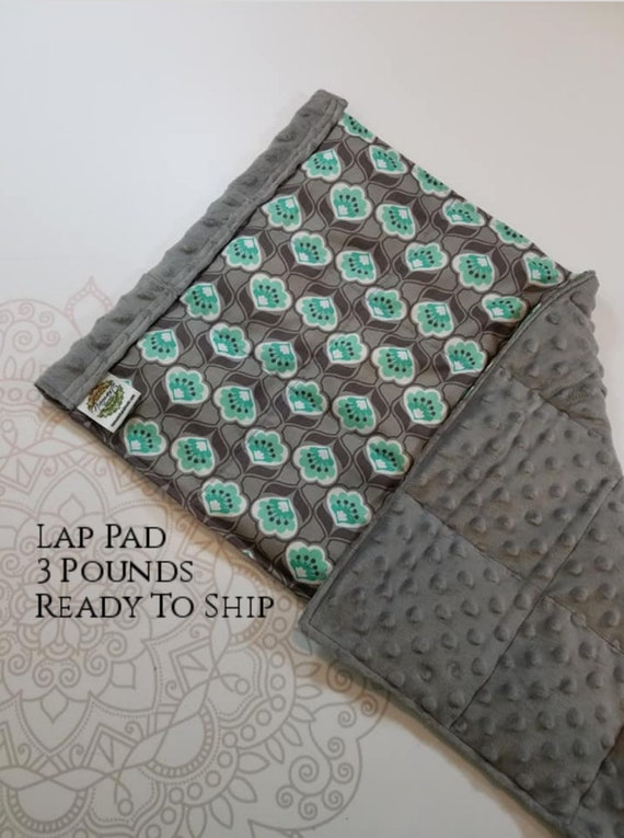 READY TO SHIP, Gray Teal Flowers Cotton Front, Gray Minky Back, Weighted, Lap Pad/Weighted Blanket, 3 pounds, 14x22, Small Weighted Blanket