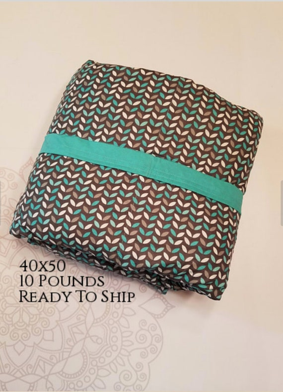 READY to SHIP, Weighted Blanket, 40-50-10 Pounds, Teal Gray Leaves, Teal Woven Cotton Back, Sensory Blanket, Calming Blanket,