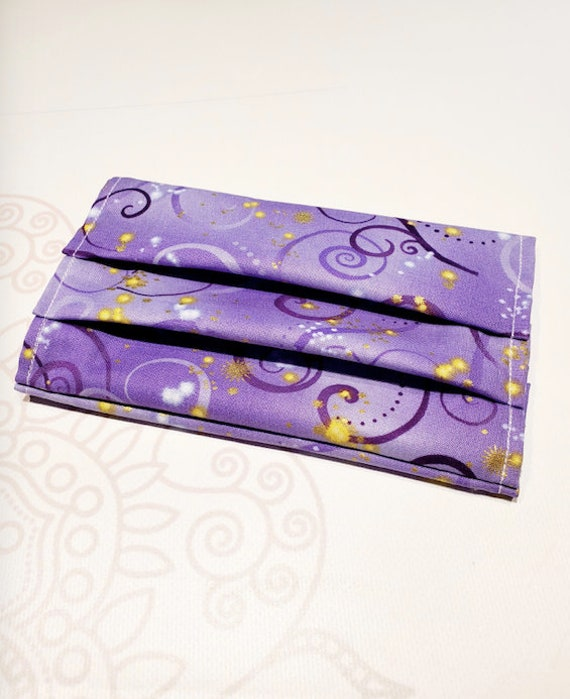 Face Mask COVER, For Ear Looped Masks, Purple Swirls, Washable Mask Cover