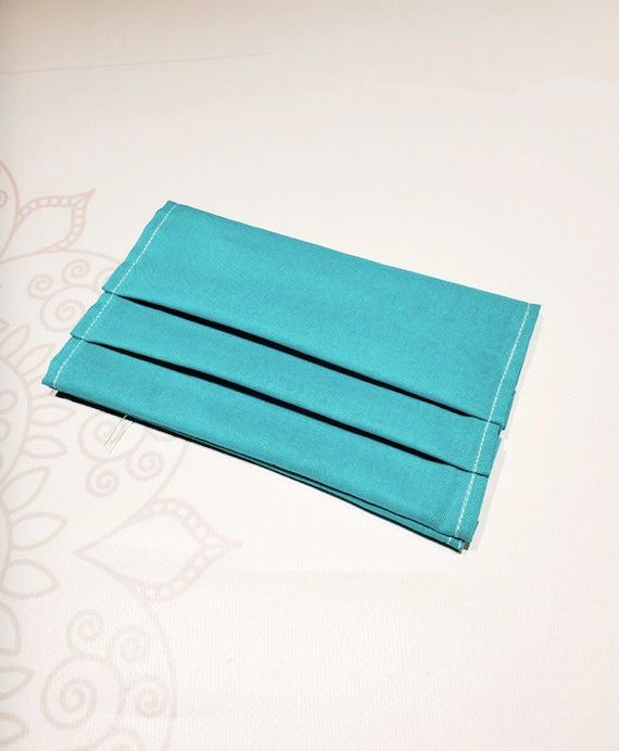 Face Mask COVER, For Ear Looped Masks, Teal Color, Washable Mask Cover