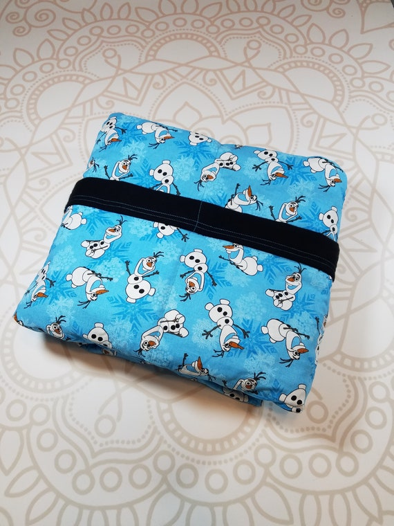 READY to SHIP, 40x70-10 Pounds, Weighted Blanket, Snowman Woven Cotton, Black Cotton Flannel Backing, Sensory Blanket, Calming Blanket,