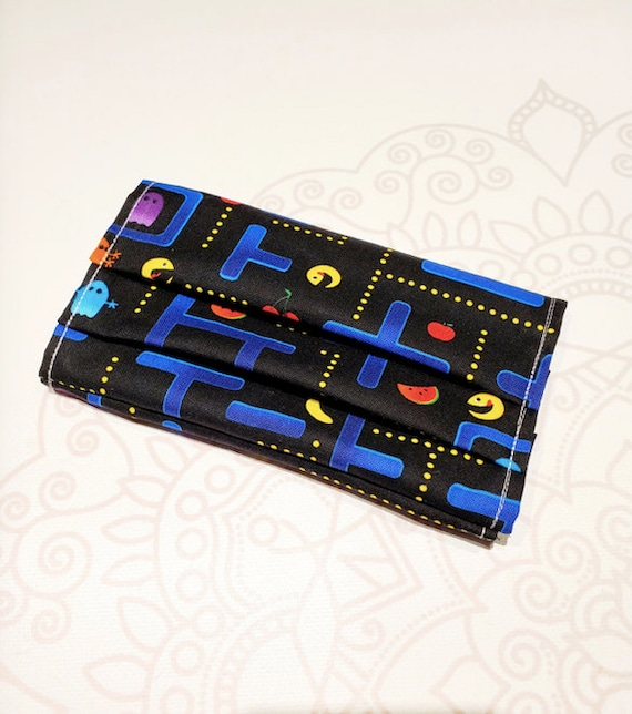 READY to SHIP, Face Mask COVER, For Ear Looped Masks,  Retro Game Print, For Adult Size Masks, Washable Mask Cover