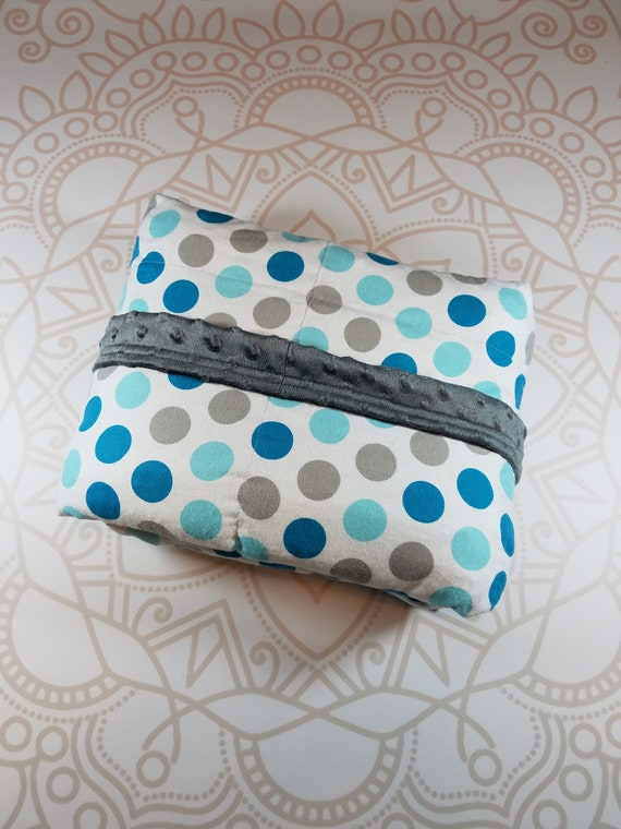 READY to SHIP, 40x50, 10 Pounds, Weighted Blanket, Teal Gray Dots, Charcoal Gray Minky Back, Sensory Blanket, Calming Blanket,