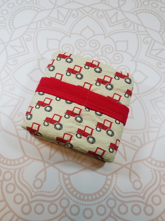 Ready To Ship, 4 Pound, 28x32, WEIGHTED BLANKET, Tractor, Red Cotton Flannel Back, Autism, Sensory, ADHD, Calming, Anxiety, ptsd