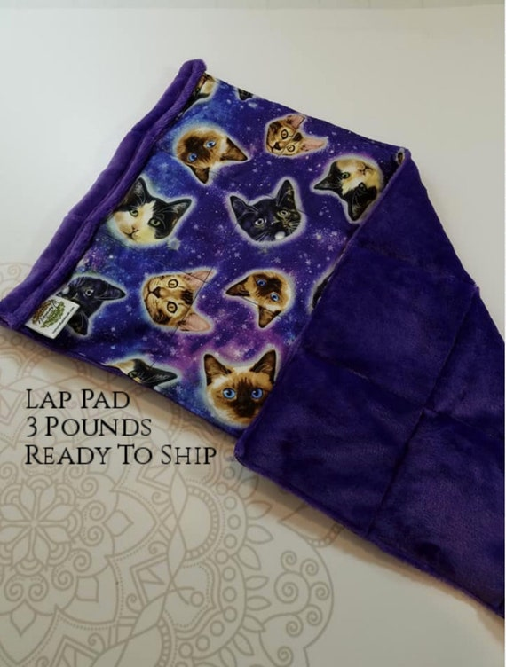 READY TO SHIP, Space Cat Woven Cotton Front, Purple Smooth Minky Back, Lap Pad/Weighted Blanket, 3 pounds, 14x22, Small Weighted Blanket