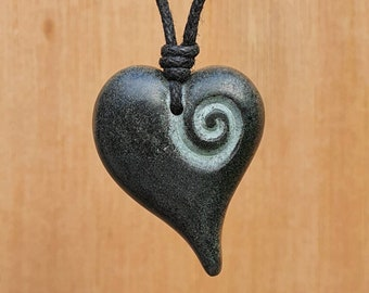 Heart Pendant   Love Heart Necklace Charm   Spiral Heart Jewelry   Symbol Of Love And Friendship   Hand-Carved From Natural Stone By Myself