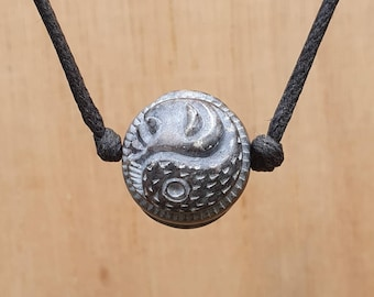 Yin And Yang pendant   Moon And Spiral Sphere  Necklace   Tai Chi Sympol Of Balance And Harmony   Hand Carved Spritual Unisex Stone Jewelry