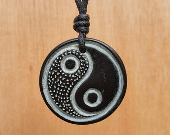 Yin and Yang Pendant   Tai Chi Symbol Necklace   Tao Charm Jewelry   Sympol Of Balance And Harmony. Hand-Carved From Natural Stone By Myself