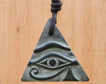 Eye Of Horus And Ankh Symbol Double Sided Triangle Necklace Jewelry   Hand-Carved From Natural Stone By Myself   Key OF Life And Protection