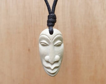 Face Pendant   Face Necklace Charm Jewelry   Protection And Good Luck Talisman   Hand-Carved From Natural Stone By Myself  