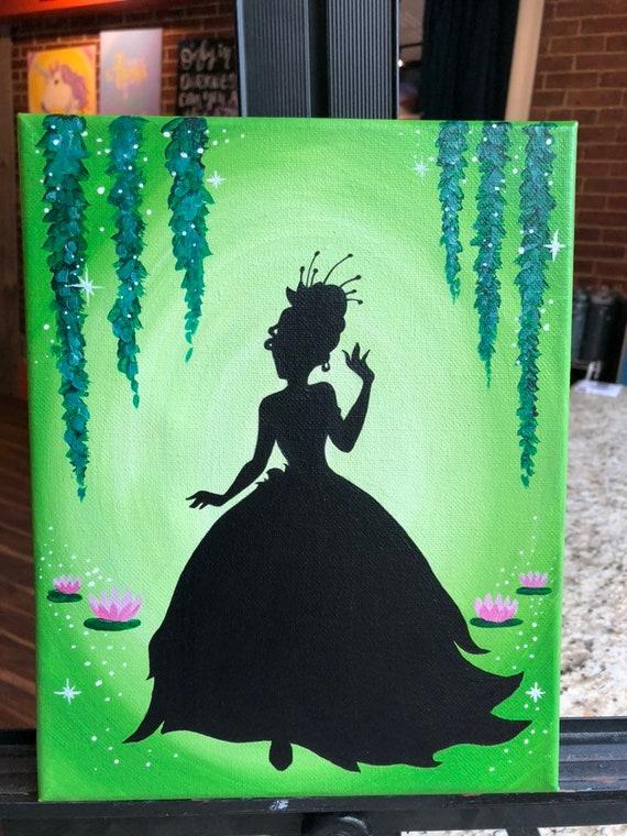 Princess Tiana Silhouette Painting Etsy