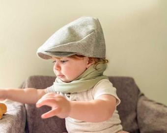 Toddler Boys Flat Cap - Grey Wool Newsboy Hat - Woolen Golf Hat - Baby Photo Prop - Ring Bearer Accessories - Baby Shower Gift