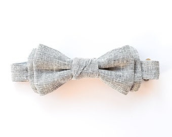 Boys Chambray Linen Bow Tie - Baby Wedding Tie - Ring Bearer Accessories - Page Boy Outfit - Baby Photo Prop
