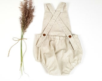 8944e1145 Natural and Cream Striped Linen Baby Romper - Baby Boy Coming Home Outfit - Boho  Baby Romper - Baby Shower Gift - Baby Girl Linen Playsuit