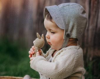 Grey Chambray Linen Baby Bonnet with button chin strap, Linen Baby Hat with Brim, Newborn Boys Bonnet Hat