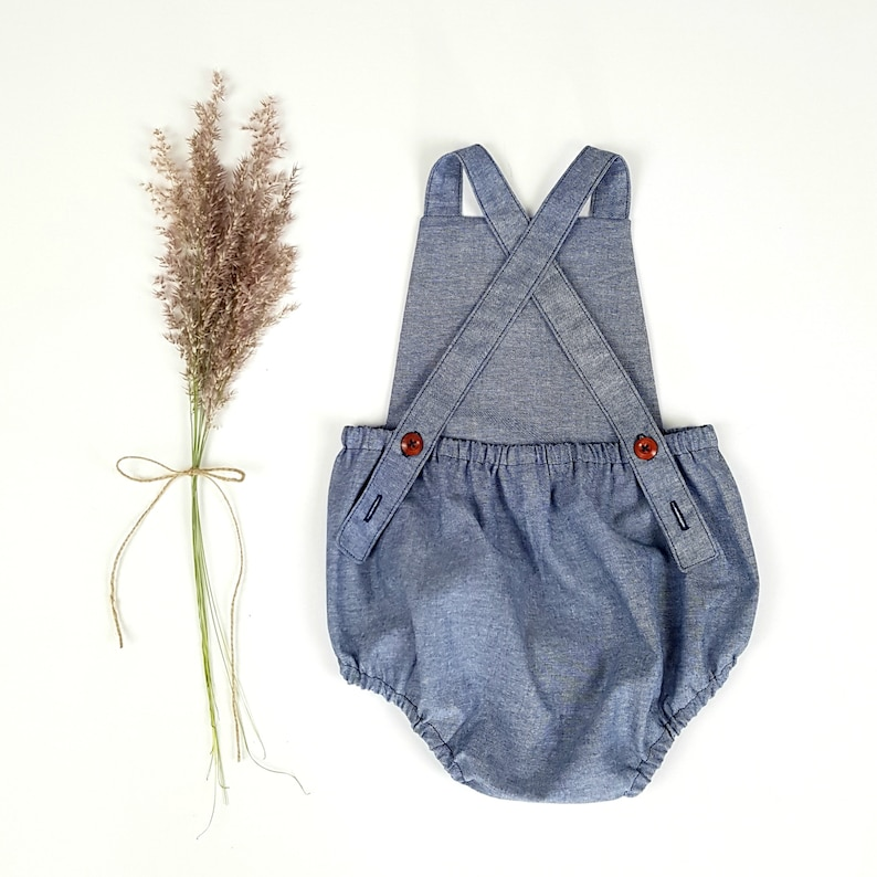 4fa30e4aff55 Blue Chambray Baby Romper Baby Boy Coming Home Outfit Boho