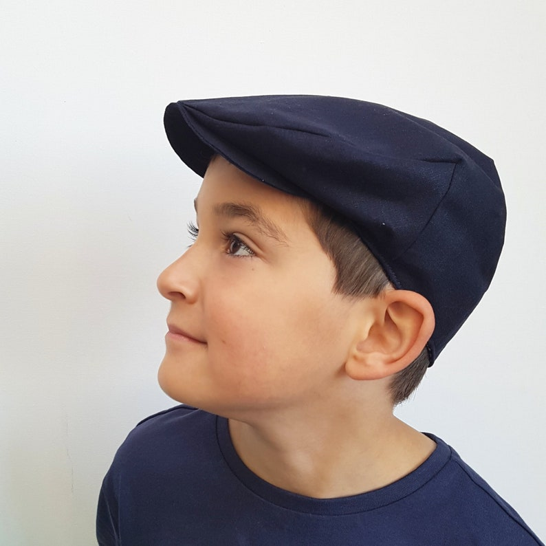 f37894a281963 Boys Flat Cap Hat Navy Blue Newsboy Hat Cute Baby Hat
