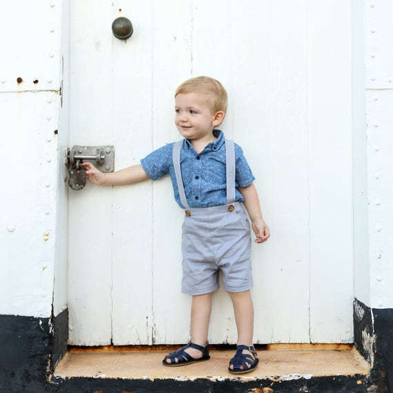 Boys Pants With Suspenders Shorts With Braces Linen Baby