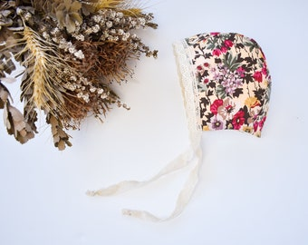 Lace Edge Peony Floral Baby Bonnet, Girls baby Hat, Little Girls Bonnet, Christening Cap, Neutral tones baby bonnet