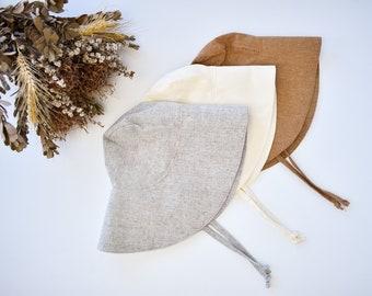 Linen Baby Sun Hat - Wide Brim Hat in Grey, Ivory or Brown Linen - Toddler Sun Bonnet - Kids Bucket Hat