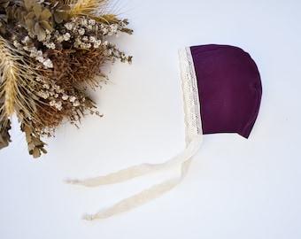 Lace Edge Mulberry Baby Bonnet, Newborn Baby Hat, Little Girls Bonnet, Birth Announcement Photo Shoot Outfit, Neutral tones baby bonnet