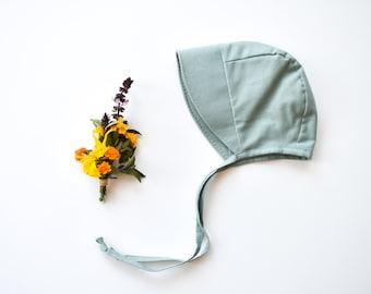 Mist Blue Baby Sun Bonnet, Baby Sun Hat, Little Girls Bonnet with sun brim, New Baby Gift, Christening Hat