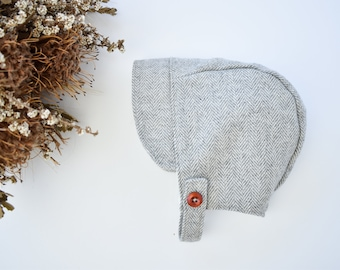 Grey Woolen Baby Hat with button up chin strap, Wool Herringbone Baby Bonnet, Newborn Boys Birth Announcement Outfit