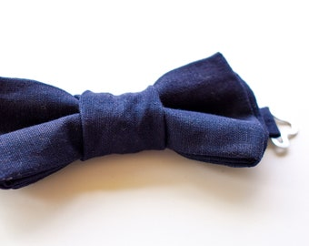 Navy Blue Linen Bow Tie Handmade Page Boy Outfit Accessory