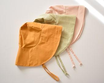 Baby Bonnet Sun Hat - Wide Brim Hat in Soft Sea Shell Pink, Pistachio Green or Mustard - Toddler Sun Bonnet - Kids Bucket Hat
