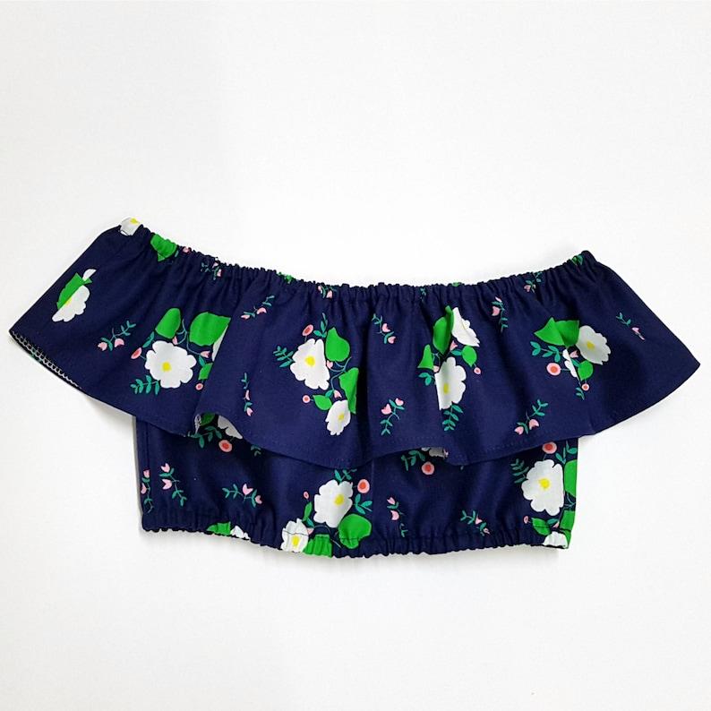 0daf8af640051 Navy Floral Ruffle Crop Top Toddler Shirt Off Shoulder Top