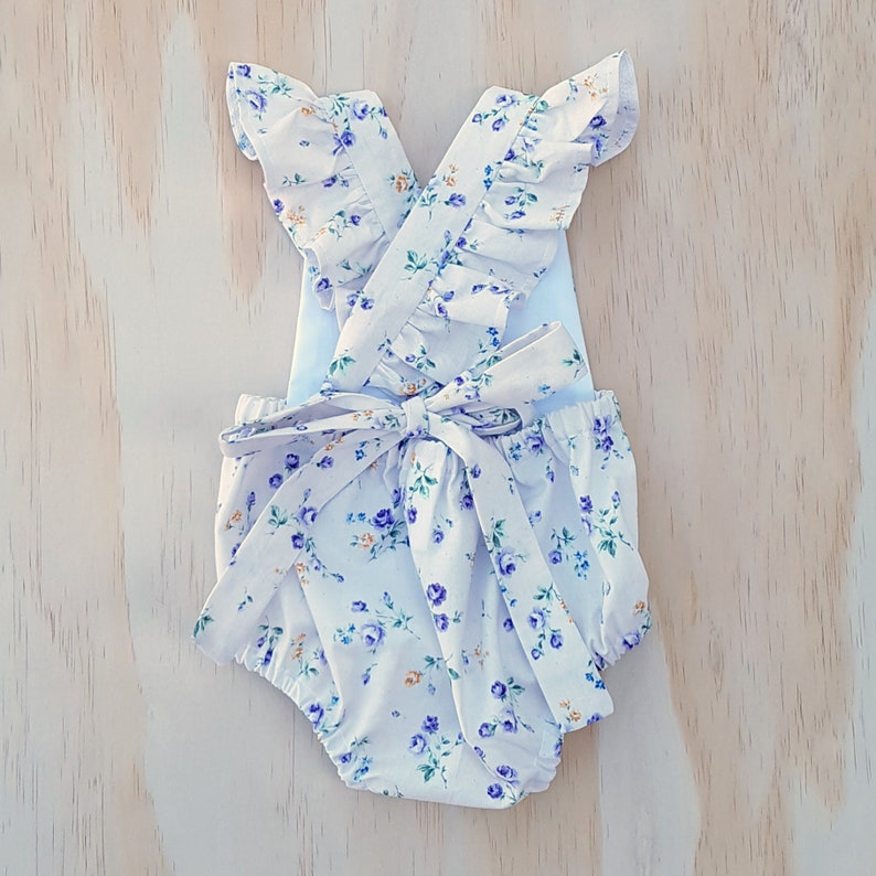6441a63f075d White Floral ruffle romper Baby girl playsuit toddler