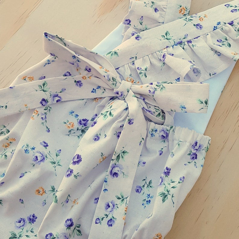 White Floral ruffle romper Baby girl playsuit toddler | Etsy