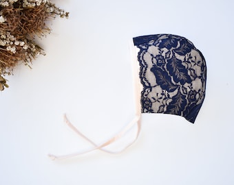 Sea Shell Pink Baby Bonnet with Navy Blue Lace Overlay,  Lace Baby Girls Hat, Toddler Lace Bonnet, Limited Edition