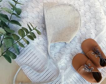 Grey Linen Baby Bonnet - Toddler Boys Hat - Newborn Baby Bonnet - Gender Neutral Baby Shower Gift