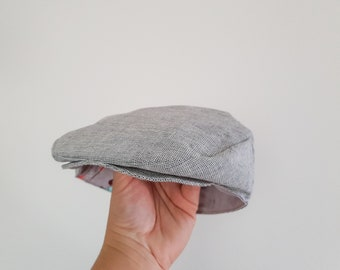 Toddler Boys Flat Cap - Grey Linen Newsboy Hat - Chambray Linen Golf Hat - Baby Photo Prop - Ring Bearer Accessories - Baby Shower Gift