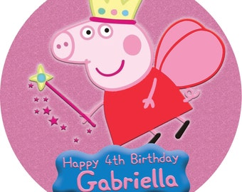 Peppa and George Pig Round Edible Image Real Icing Cake Topper Single or Sibling Birthday