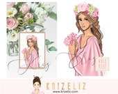 Girl Illustration with flowers - Fashion illustration print - personalized gifts for her -  women art illustration - gift ideas for her