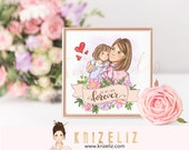 DIGITAL OR PRINT Mother daughter illustration print - baby girl print - children's bedroom decor - personalized gifts for her