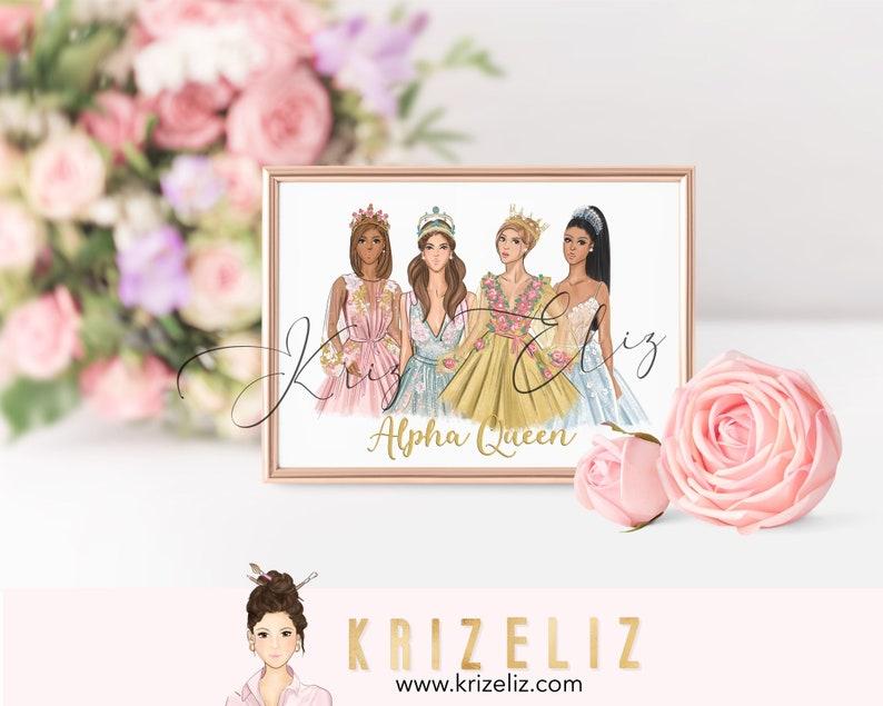 Queen Girl Illustration  Fashion illustration print  image 0