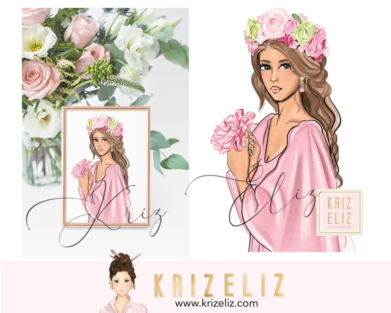 Girl Illustration with flowers  Fashion illustration print  image 0