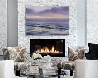 Large Seascape Sunrise Painting on Canvas, Marks on the Sand