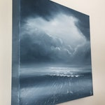 Breaking Through - Black and White Original Ocean Oil Painting on Canvas
