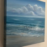 Oceanfront - Original Blue Beach Oil Painting on Canvas