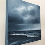 Expectation - Monochromatic Ocean Oil Painting on Canvas